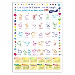 Calendrier A3 avec dessins d'enfants - sans bloc éphéméride