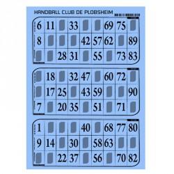 Plaques de 3 cartes de loto Bristol personnalisées (lot de166)