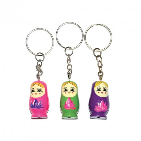 Porte-clés matrioska (lot de 12)