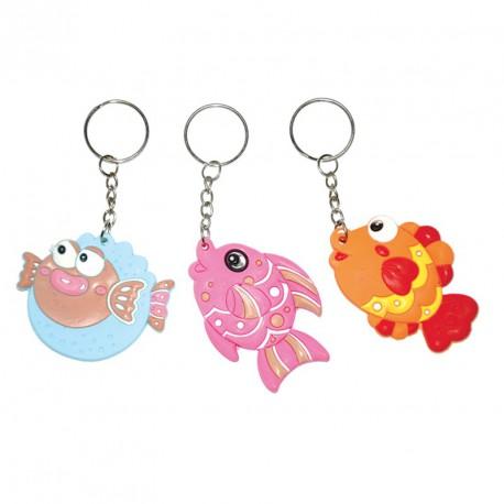 Porte-clés funky fish (lot de 12)