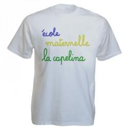 Tee-shirt blanc personnalisé : 3 couleurs sur 1 face