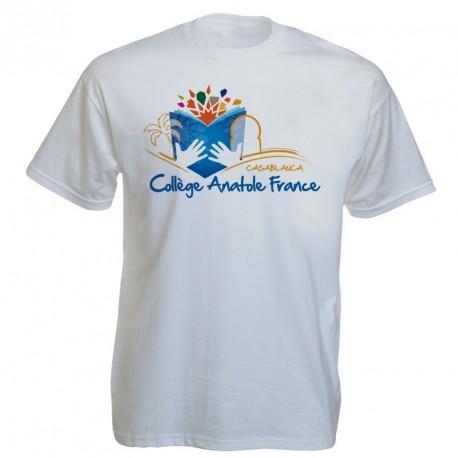 Tee-shirt blanc personnalisé : multicolors sur 1 face