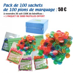 Pack de 100 sachets de 100 pions de marquage pour loto