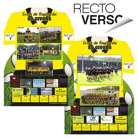 CALENDRIER MAILLOT RECTO VERSO SANS BLOC - RUGBY