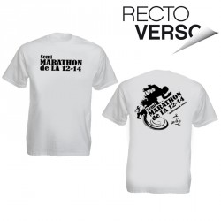 Tee-shirt blanc personnalisé : 1 couleur recto verso