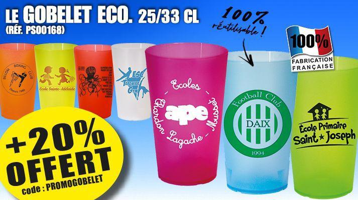 Promo Gobelet Eco Reutilisable - 20 % Offert - ref.PROMOGOBELET